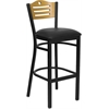 Flash Furniture HERCULES Series Black Slat Back Metal Restaurant Barstool - Natural Wood Back, Black Vinyl Seat