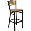 Flash Furniture HERCULES Series Black Slat Back Metal Restaurant Barstool - Natural Wood Back & Seat