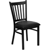 HERCULES Series Black Vertical Back Metal Restaurant Chair - Black Vinyl Seat