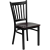 HERCULES Series Black Vertical Back Metal Restaurant Chair - Mahogany Wood Seat