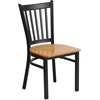 Flash Furniture HERCULES Series Black Vertical Back Metal Restaurant Chair - Natural Wood Seat