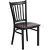 Flash Furniture HERCULES Series Black Vertical Back Metal Restaurant Chair - Walnut Wood Seat