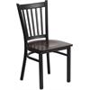 HERCULES Series Black Vertical Back Metal Restaurant Chair - Walnut Wood Seat