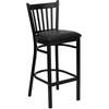 Flash Furniture HERCULES Series Black Vertical Back Metal Restaurant Barstool - Black Vinyl Seat
