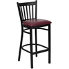 Flash Furniture HERCULES Series Black Vertical Back Metal Restaurant Barstool - Burgundy Vinyl Seat