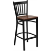HERCULES Series Black Vertical Back Metal Restaurant Barstool - Cherry Wood Seat