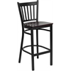 HERCULES Series Black Vertical Back Metal Restaurant Barstool - Mahogany Wood Seat