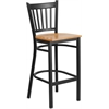 HERCULES Series Black Vertical Back Metal Restaurant Barstool - Natural Wood Seat