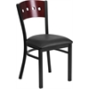 Flash Furniture HERCULES Series Black Decorative 4 Square Back Metal Restaurant Chair - Mahogany Wood Back, Black Vinyl Seat