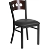 Flash Furniture HERCULES Series Black Decorative 3 Circle Back Metal Restaurant Chair - Walnut Wood Back, Black Vinyl Seat