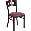 HERCULES Series Black Decorative 3 Circle Back Metal Restaurant Chair - Walnut Wood Back, Burgundy Vinyl Seat