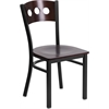 Flash Furniture HERCULES Series Black Decorative 3 Circle Back Metal Restaurant Chair - Walnut Wood Back & Seat