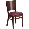 Lacey Series Solid Back Walnut Wooden Restaurant Chair - Burgundy Vinyl Seat