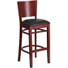 Flash Furniture Lacey Series Solid Back Mahogany Wooden Restaurant Barstool - Black Vinyl Seat