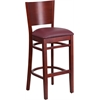 Flash Furniture Lacey Series Solid Back Mahogany Wooden Restaurant Barstool - Burgundy Vinyl Seat