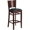 Lacey Series Solid Back Walnut Wooden Restaurant Barstool - Black Vinyl Seat