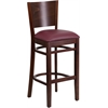 Lacey Series Solid Back Walnut Wooden Restaurant Barstool - Burgundy Vinyl Seat