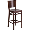 Lacey Series Solid Back Walnut Wooden Restaurant Barstool