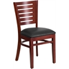 Darby Series Slat Back Mahogany Wooden Restaurant Chair - Black Vinyl Seat