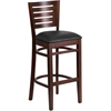 Darby Series Slat Back Walnut Wooden Restaurant Barstool - Black Vinyl Seat