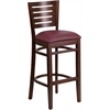 Flash Furniture Darby Series Slat Back Walnut Wooden Restaurant Barstool - Burgundy Vinyl Seat