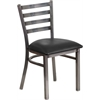 HERCULES Series Clear Coated Ladder Back Metal Restaurant Chair - Black Vinyl Seat