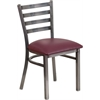 Flash Furniture HERCULES Series Clear Coated Ladder Back Metal Restaurant Chair - Burgundy Vinyl Seat