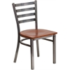 Flash Furniture HERCULES Series Clear Coated Ladder Back Metal Restaurant Chair - Cherry Wood Seat