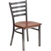 Flash Furniture HERCULES Series Clear Coated Ladder Back Metal Restaurant Chair - Cherry Wood Seat