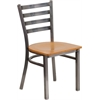Flash Furniture HERCULES Series Clear Coated Ladder Back Metal Restaurant Chair - Natural Wood Seat