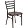 Flash Furniture HERCULES Series Clear Coated Ladder Back Metal Restaurant Chair - Walnut Wood Seat