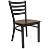 Flash Furniture HERCULES Series Black Ladder Back Metal Restaurant Chair - Mahogany Wood Seat