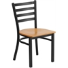Flash Furniture HERCULES Series Black Ladder Back Metal Restaurant Chair - Natural Wood Seat