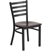 Flash Furniture HERCULES Series Black Ladder Back Metal Restaurant Chair - Walnut Wood Seat
