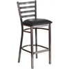 Flash Furniture HERCULES Series Clear Coated Ladder Back Metal Restaurant Barstool - Black Vinyl Seat