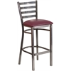 Flash Furniture HERCULES Series Clear Coated Ladder Back Metal Restaurant Barstool - Burgundy Vinyl Seat