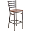 Flash Furniture HERCULES Series Clear Coated Ladder Back Metal Restaurant Barstool - Cherry Wood Seat