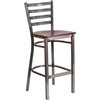Flash Furniture HERCULES Series Clear Coated Ladder Back Metal Restaurant Barstool - Mahogany Wood Seat