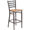 Flash Furniture HERCULES Series Clear Coated Ladder Back Metal Restaurant Barstool - Natural Wood Seat