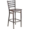 Flash Furniture HERCULES Series Clear Coated Ladder Back Metal Restaurant Barstool - Walnut Wood Seat
