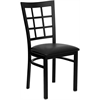 HERCULES Series Black Window Back Metal Restaurant Chair - Black Vinyl Seat
