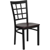 Flash Furniture HERCULES Series Black Window Back Metal Restaurant Chair - Mahogany Wood Seat