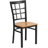 Flash Furniture HERCULES Series Black Window Back Metal Restaurant Chair - Natural Wood Seat