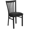 Flash Furniture HERCULES Series Black School House Back Metal Restaurant Chair - Black Vinyl Seat
