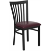 Flash Furniture HERCULES Series Black School House Back Metal Restaurant Chair - Burgundy Vinyl Seat