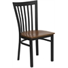 Flash Furniture HERCULES Series Black School House Back Metal Restaurant Chair - Cherry Wood Seat
