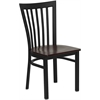 Flash Furniture HERCULES Series Black School House Back Metal Restaurant Chair - Mahogany Wood Seat