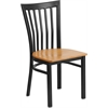 HERCULES Series Black School House Back Metal Restaurant Chair - Natural Wood Seat