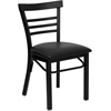 Flash Furniture HERCULES Series Black Ladder Back Metal Restaurant Chair - Black Vinyl Seat