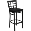Flash Furniture HERCULES Series Black Window Back Metal Restaurant Barstool - Black Vinyl Seat